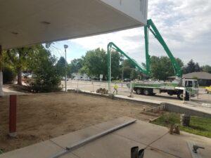 Longs Peak Middle School front entryway pad being installed