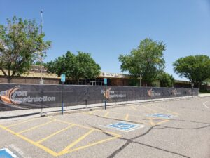 Longs Peak Middle School with halcyon construction fences around entry