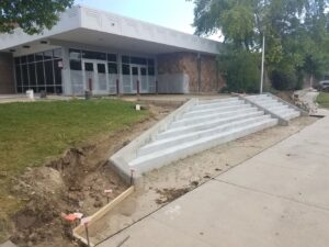 Longs Peak Middle School front steps partially completed