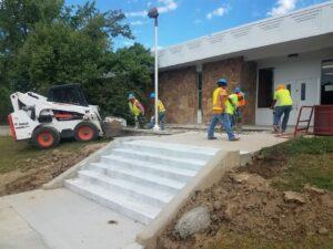 Longs Peak Middle School back steps being installed