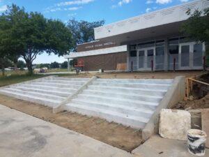 Longs Peak Middle School front step installation process