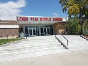 Longs Peak Middle School with signage completely installed