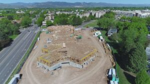 Aerial shot of Village Cooperative partially though construction
