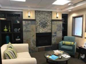 Waterford Grand Senior Living interior fireplace / sitting area